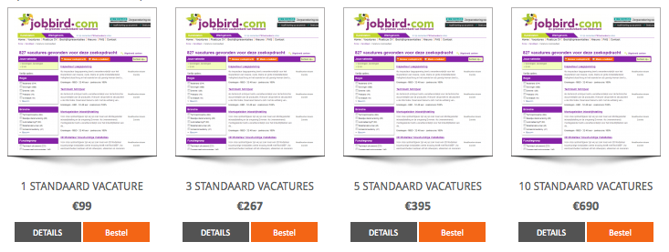Jobbird vacature tarieven 2014
