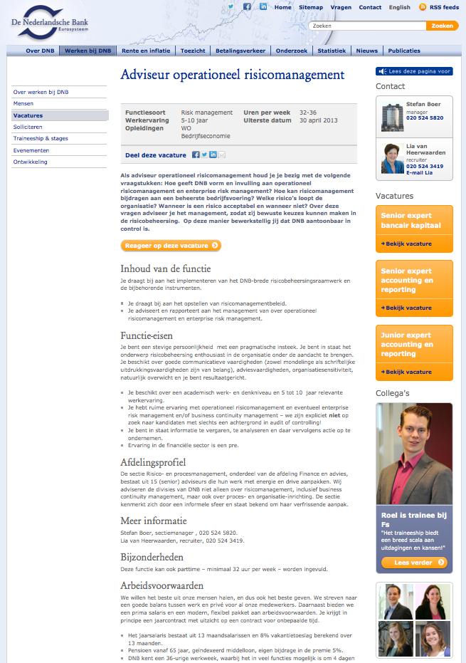 Recruitmentsite DNB - vacaturepagina