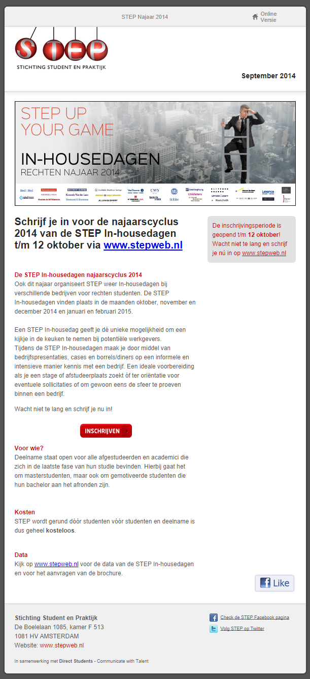 STEP najaarscyclus 2014 voor direct students website