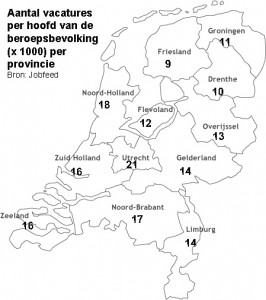 Vacatures per beroepsbervolking per provincie